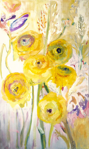 series-Floral Poetry-Golden-Ranunculus-Lies-Goemans-painting-floral-schilderij-120x200cm-basis
