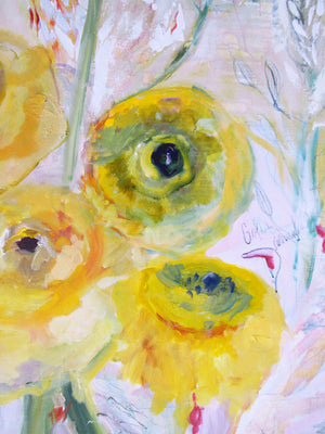 series-Floral Poetry-Golden-Ranunculus-Lies-Goemans-painting-floral-schilderij-120x200cm-detail-1