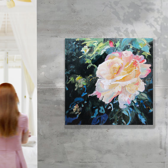 dark-nature-up-close-heaven-scent-Lies-Goemans-painting-flower-schilderij-floral-100x100cm-interiorimpression