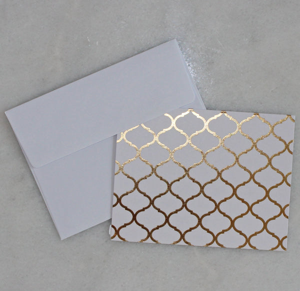 Card - gold & white - pattern