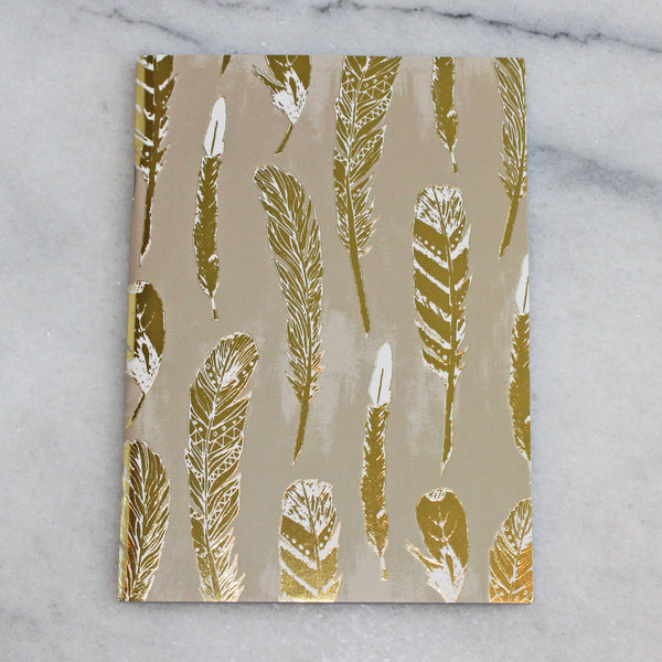 Journal - Medium - Gold Feather 3