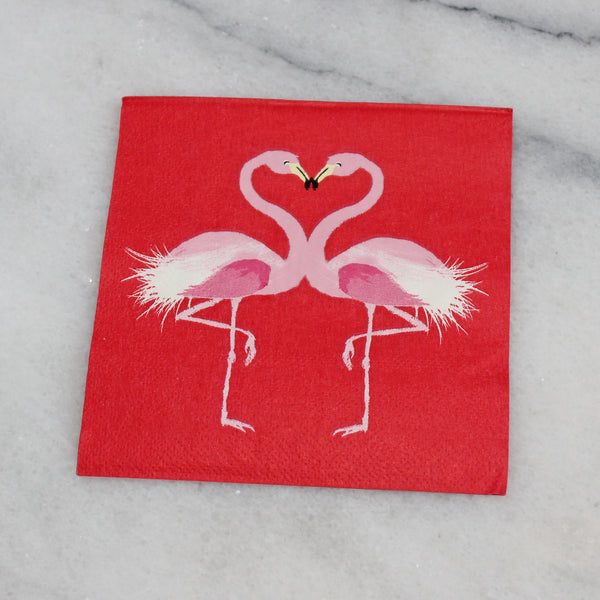 Cocktail Napkin - Kissing Flamingos