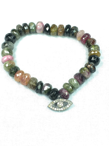 Devon Road Diamond Third Eye Charm hanging on Beautiful Tourmaline Stone Stetch Bracelet