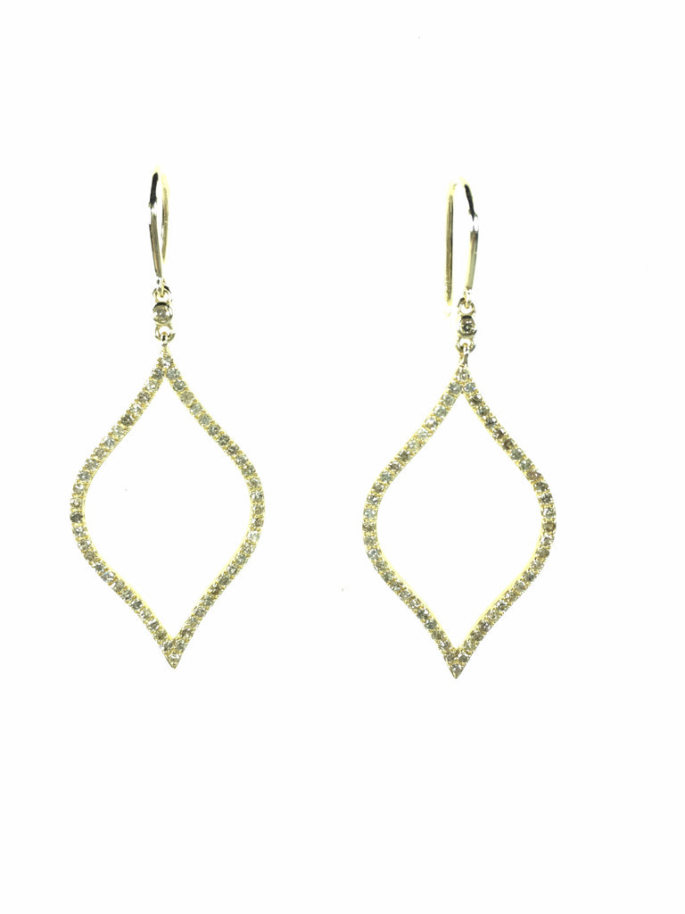 Devon Road Diamond and 14k Open Marquis Hanging Earrings