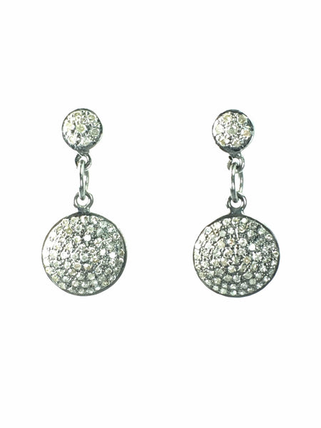 Devon Road Pave Diamond Discs set in Sterling Silver hanging on Diamond Disc Posts