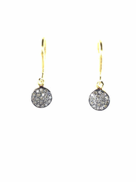 Devon Road diamond disc 6mm hanging on gold wire earrings