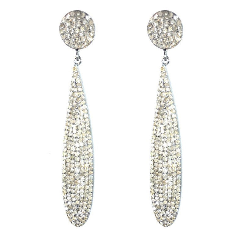 Diamond Disc Teardrop Earrings
