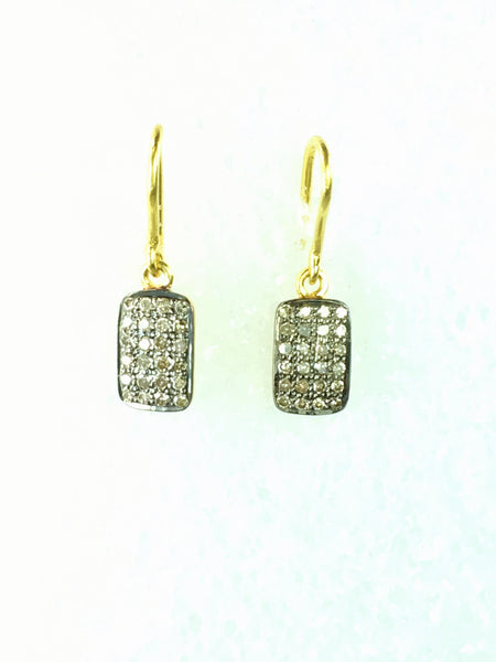 Devon Road Diamond Pave Rectangles set in Rhodium treated Gold Fill on wire Earrings