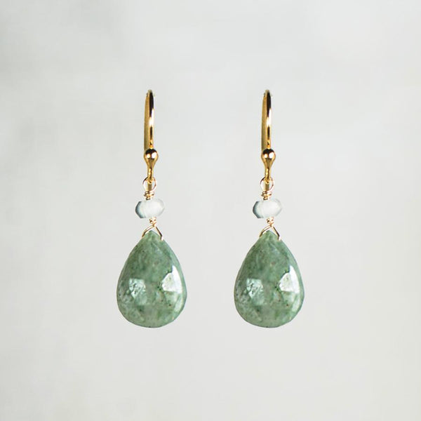 Devon Road Moss Aquamarine Teardrop and Silverite Earrings