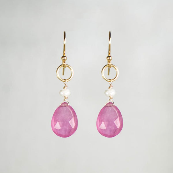 Devon Road Pink Sapphire Teardrop and Silverite Earrings