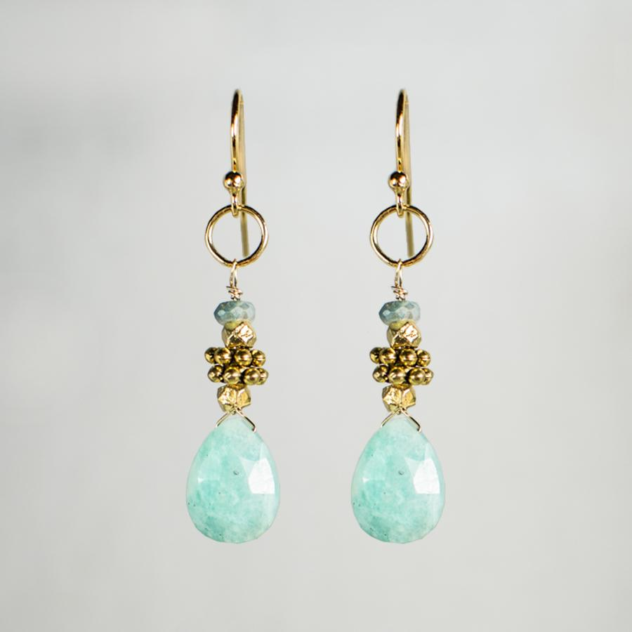 Devon Road Amazonite and Silverite Drop Earrings