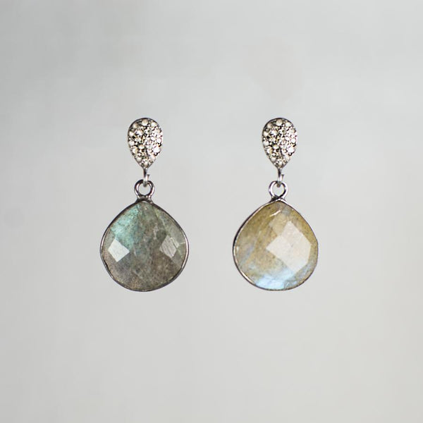 Devon Road Labradorite Teardrop and Diamond Earrings
