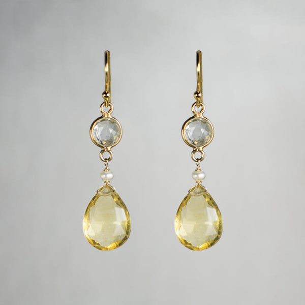 Devon Road Citrine Teardrop and Bezeled Quartz Earrings