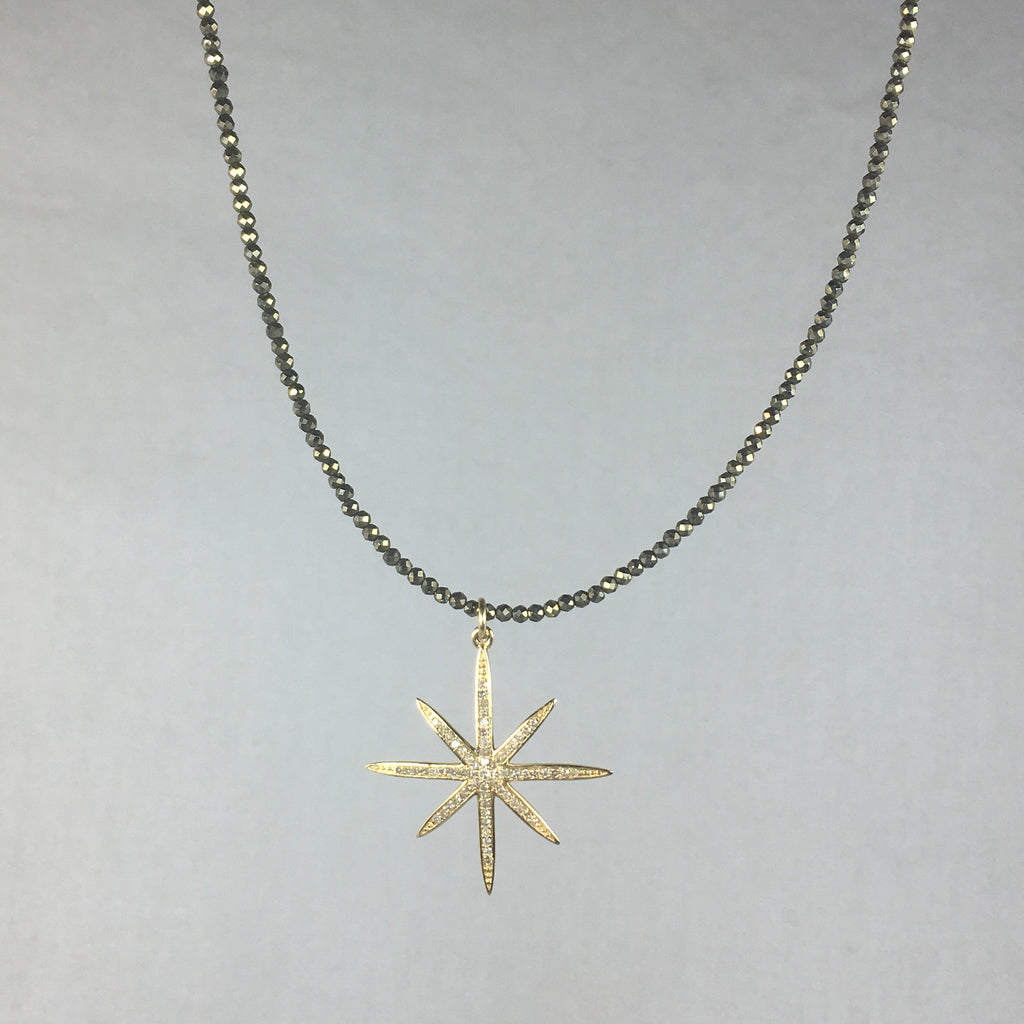 Gold and Diamond Star on Pyrite Necklace