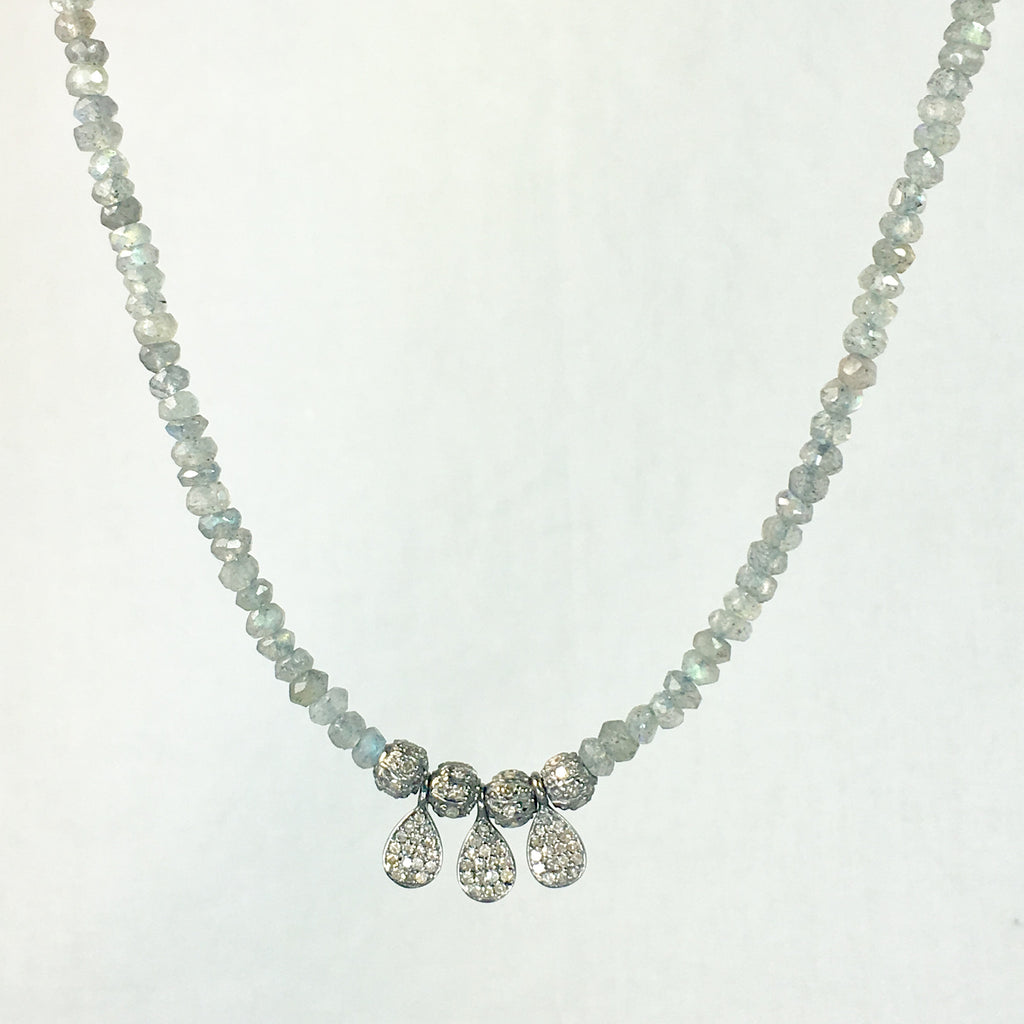 Devon Road Diamond Teardrop and Ball Charms on Labordorite Necklace