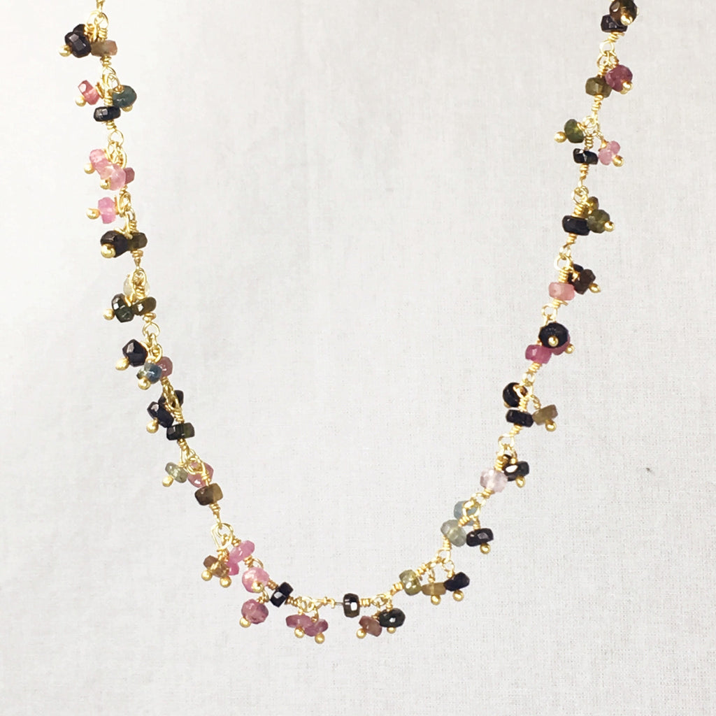 Devon Road Hanging Colorful Tourmaline Fauceted Beads on Gold fill wire chain