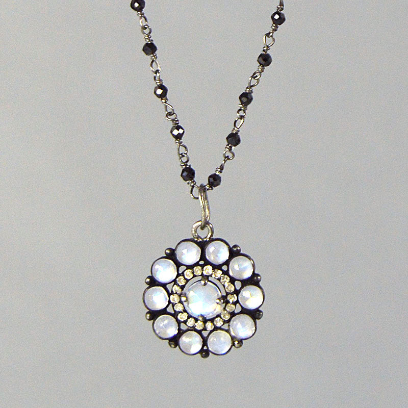 Small Moonstone and Diamond Flower on Black Spinel Rosary Chain Necklace