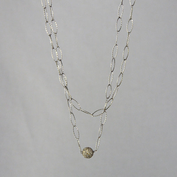 Devon Road Diamond and Sterling Silver 7mm charm on sterling open chain