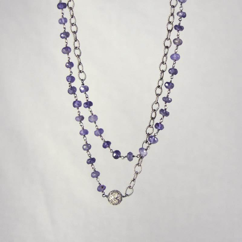 Devon Road diamond Ball with Iolite and Silver Link Chain Necklace