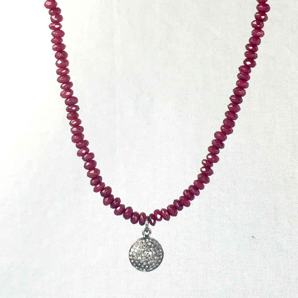 Devon Road Diamond Pave Disc set in Sterling Silver on Ruby Bead Necklace