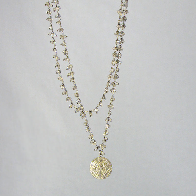 "Devon Road Diamond Pave Disc on 32"" luminous Labradorite beaded chain necklace"