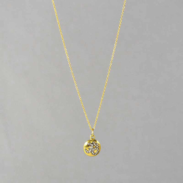 Diamond and Black Rhodium Om on Gold Vermeil Disc on Chain Necklace