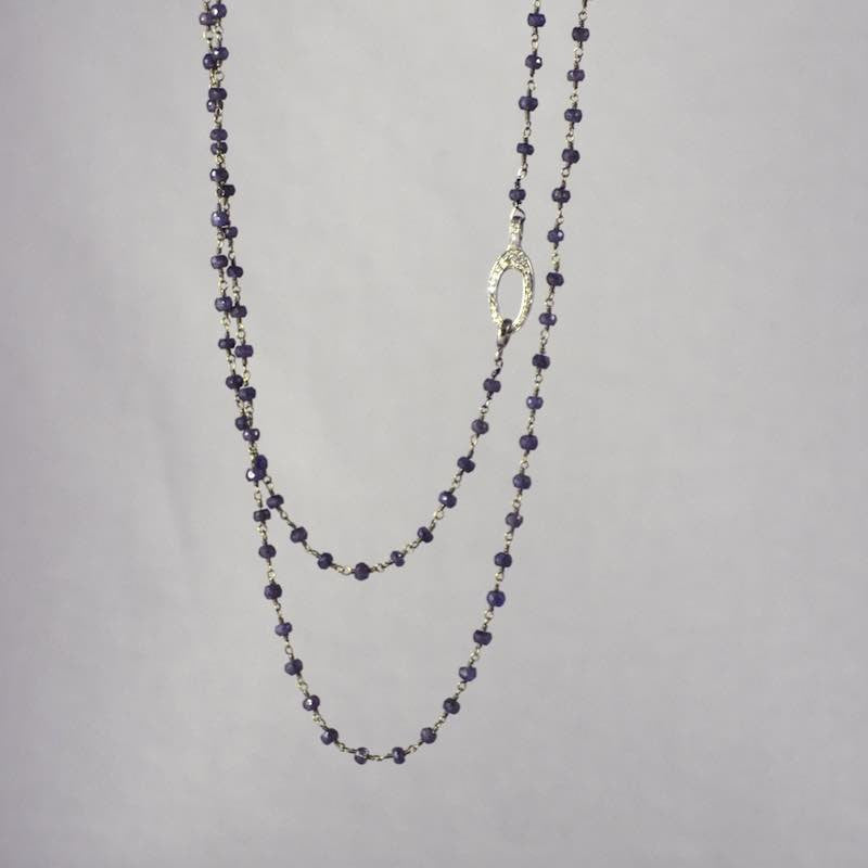 Devon Road Lapis rosary chain with Diamond Oval Clasp