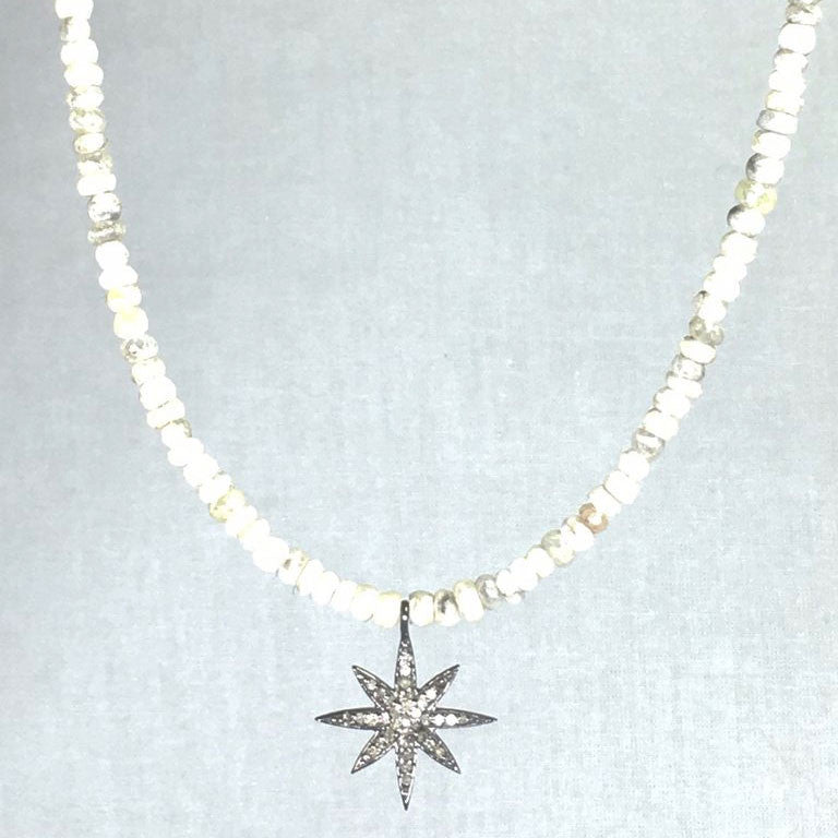 White Silverite Necklace with Diamond Pavé Star