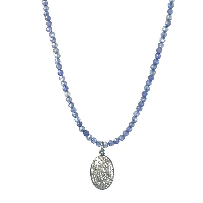 Diamond Oval Iolite Necklace