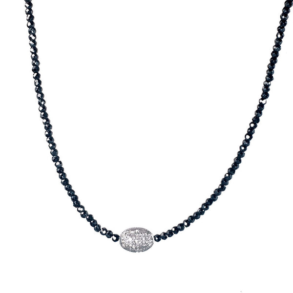 Diamond Barrel Bead Spinel Necklace