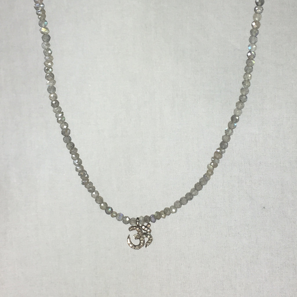 Devon Road Diamond Hamsa on Labradorite Bead Necklace