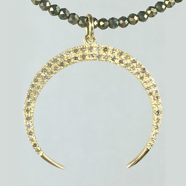 Diamond Gold Crescent Necklace