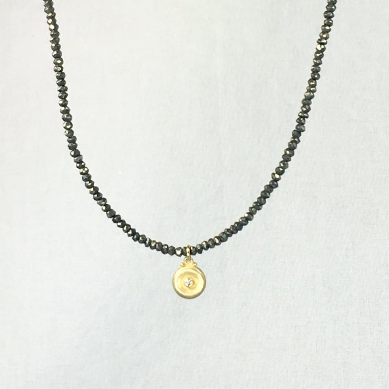 Devon Road Diamond on Gold Vermeil Disc on Pyrite Bead Necklace