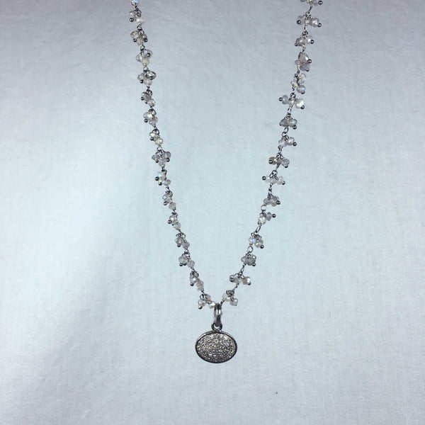 Devon Road Diamond and Sterling Oval Pendant on Hanging Labradorite Bead Necklace