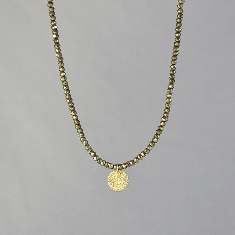 Diamond Gold Disc Pyrite Necklace