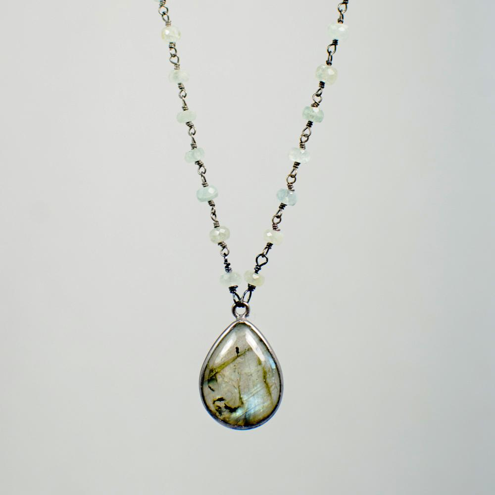 Devon Road Labradorite and Moss Aquamarine Pendant Necklace
