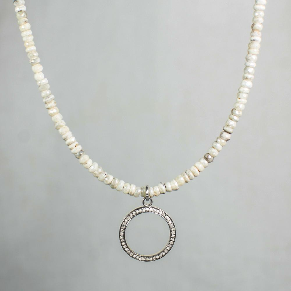 Devon Road Open Diamond Circle and Silverite Pendant Necklace