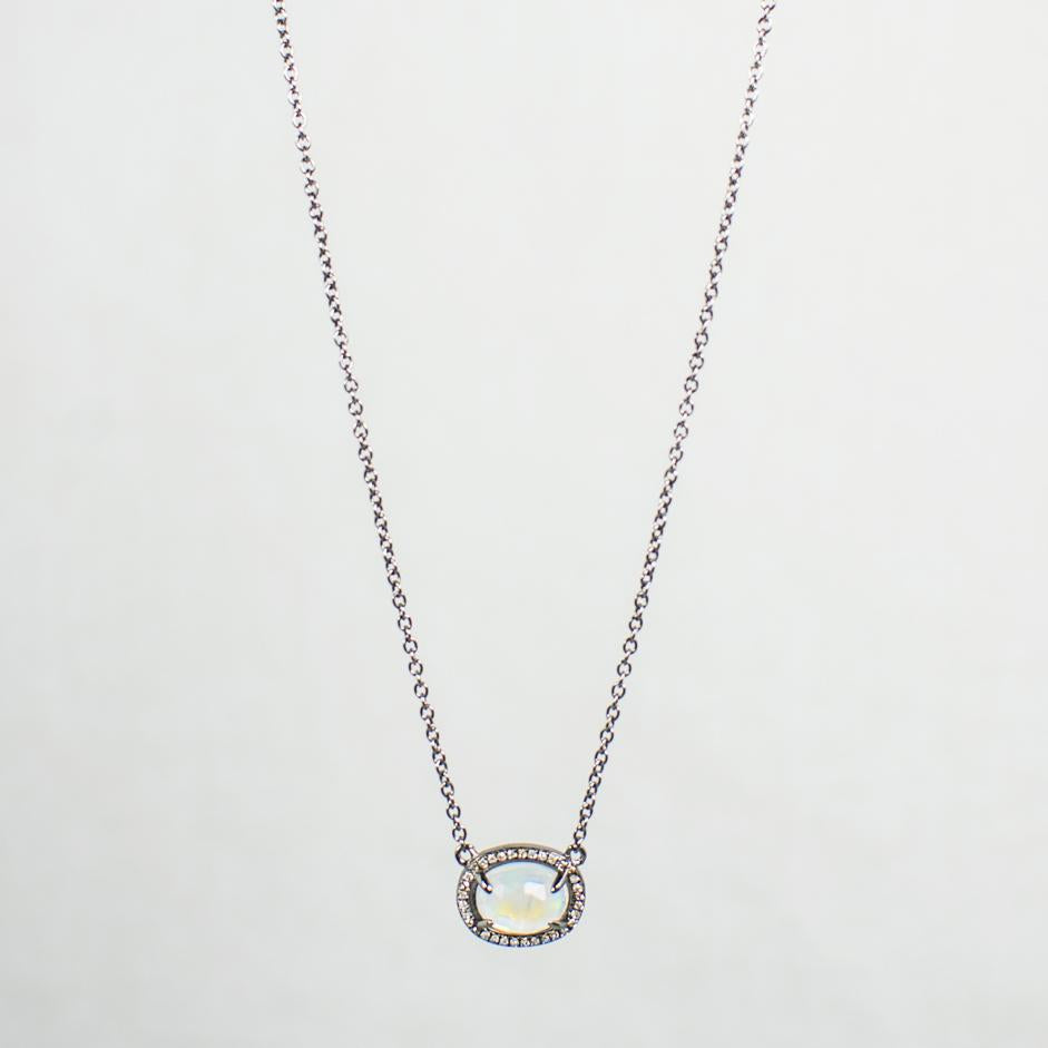 Moonstone and diamond halo pendant necklace devon road jewelry devon road moonstone and diamond halo pendant necklace aloadofball Gallery