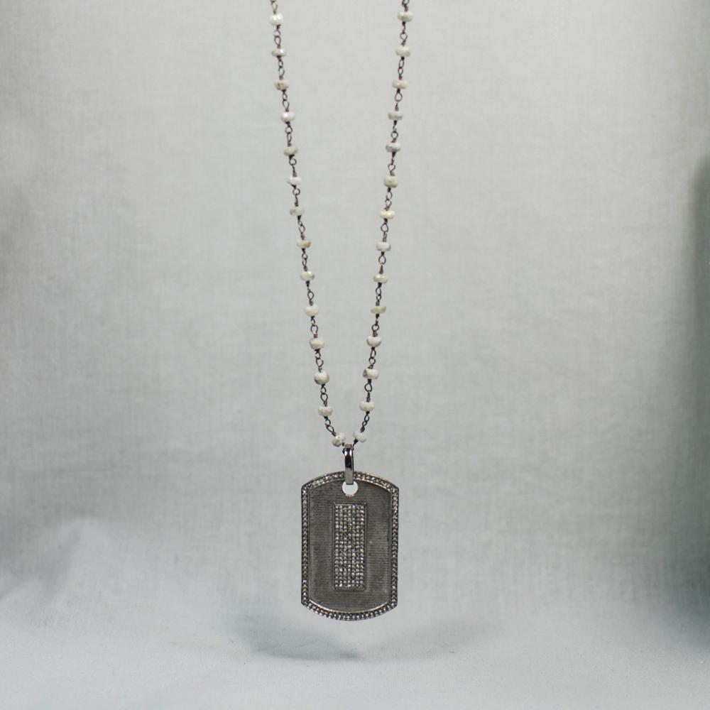 Devon Road Diamond and Silverite Dog Tag Necklace