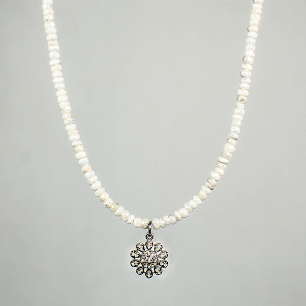 Devon Road Diamond Flower and Silverite Necklace