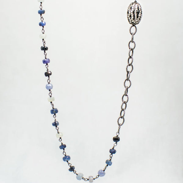 Devon Road Diamond Barrel and Sapphire Necklace