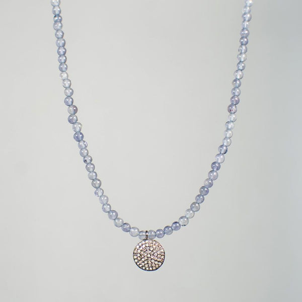 Devon Road Diamond Disc and Iolite Necklace