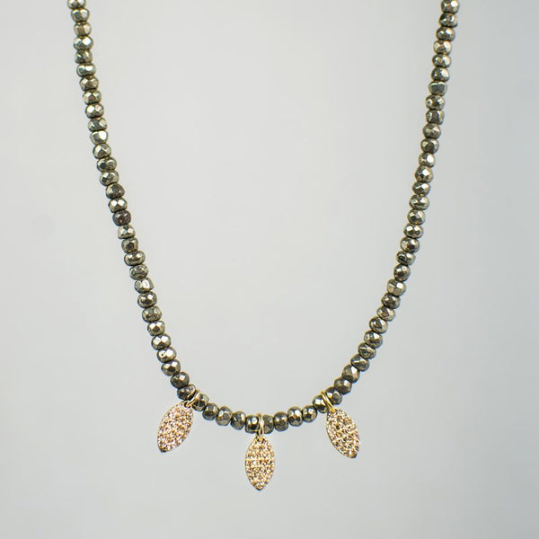 Devon Road 14k Gold Diamond Leaf and Pyrite Necklace
