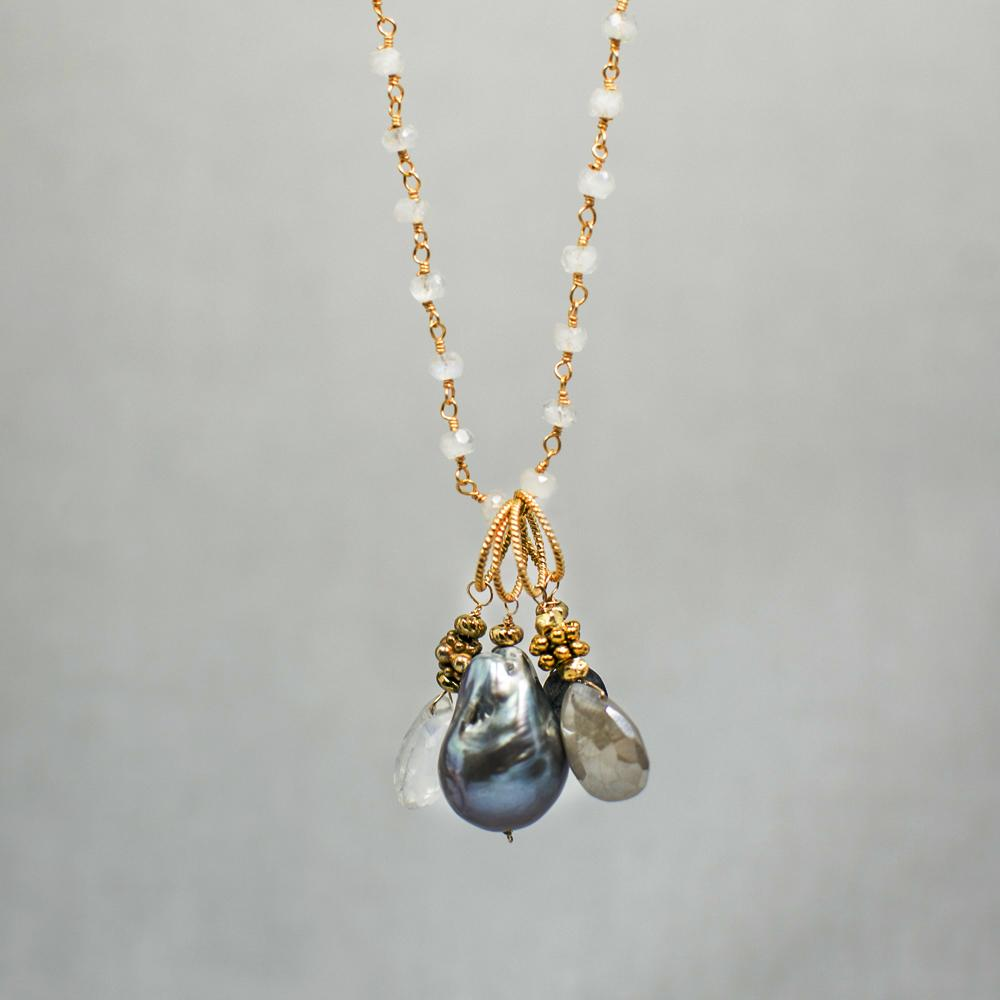 Devon Road Multi Stone and Pearl Drop Necklace