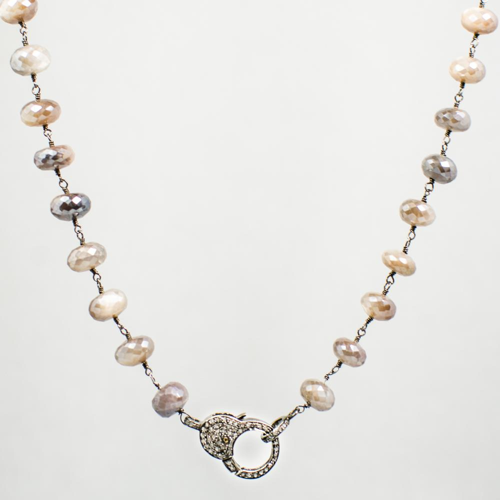 Devon Road Mystic Moonstone Necklace with Diamond Clasp
