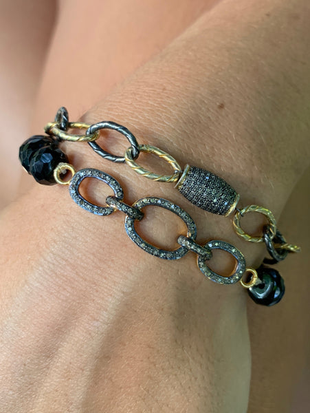 Mixed Metal Link Bracelet with Pavé Diamond Barrel
