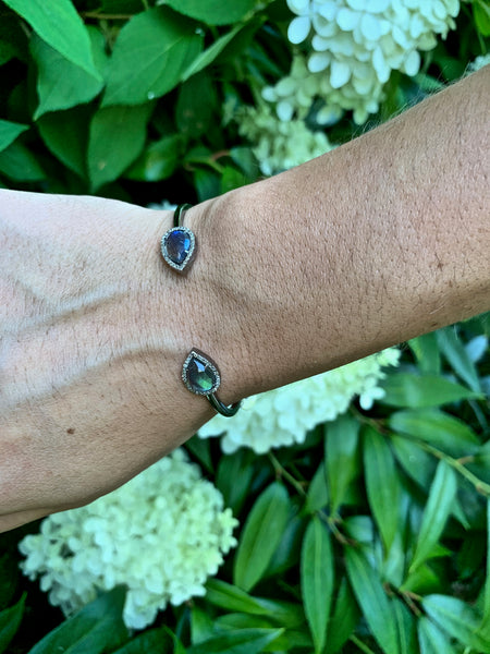 Diamond and Labradorite Teardrop Bracelet