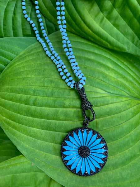 Black Spinel Pavé and Turquoise Enamel Sunflower Charm on Knotted Turquoise Crystal Necklace
