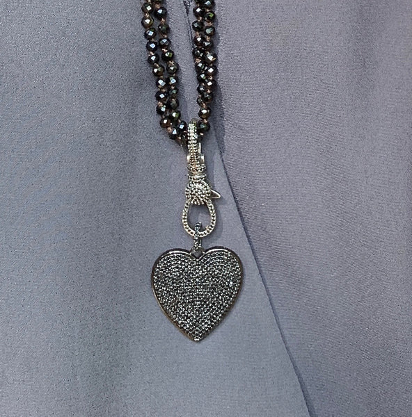 Black Spinel Pavé Heart Charm