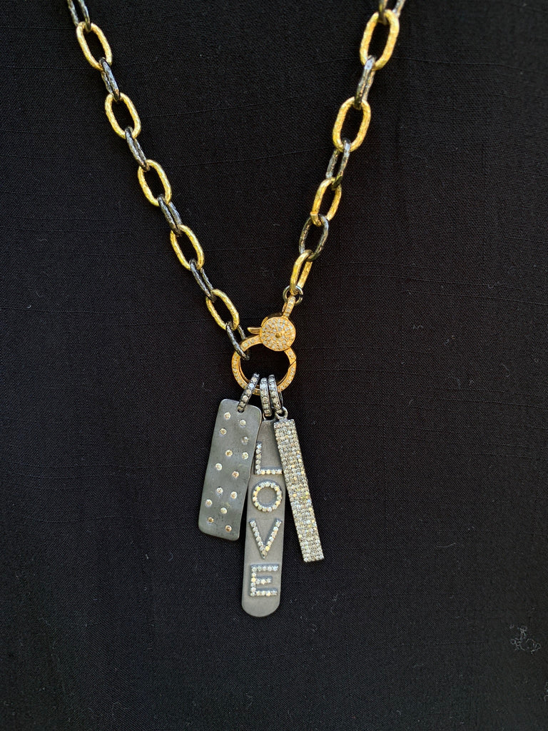 Oxidized Silver Dog Tag Charm with Scattered Diamonds